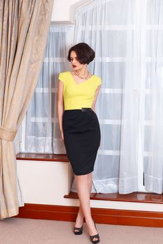 LILY DRESS Pencil dress. Cap sleeves, asymmetrical neckline. Curved darts give shape to the garment and together with the faux leather detail accentuate your waist. Exposed contrasting back zip fastening completes the outfit. Fully lined. FOLLOW US ON FACEBOOK.COM/JEVAFASHION
