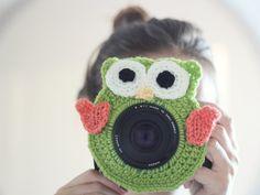 Crochet buddy. Crochet owl. Camera buddy. Lens critter. Photographer helper. Crochet accessory. Photo Prop. Camera Lens Accessory.