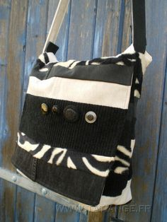 Tote from recycled jeans and faux zebra fur. Available on Etsy TATI ANGE