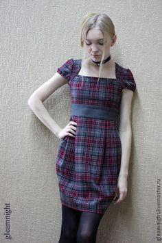 Купить Шерстяное платье в клетку - в клеточку, платье в клетку, платье-баллон, платье-футляр