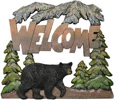 Amazon.com: Black Bear Decorations for Home - Welcome Bear Sign Cabin Wall Hanging - Bear Pictures Wall Art Mama Bear Sign - Home Decor Bear Wilderness Bathroom Decor - Bear Wall Decor Wildlife Decor for Home: Home & Kitchen