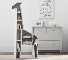 Pottery Barn Kids offers kids & baby furniture, bedding and toys designed to delight and inspire. Create or shop a baby registry to find the perfect present. Baby Giraffe Nursery, Giraffe Bedroom, Giraffe Decor, Animal Theme Nursery, Nursery Ideas, Nursery Rocker, Baby Elephants, Safari Nursery, Giraffe Print