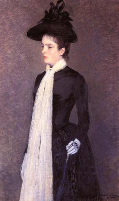 Portrait of a Woman in Black, c. 1886-1888 , by Theo van Rysselberghe