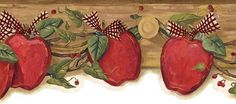 Wallpaper border features red apples with leaves and berries on a beige background. Apple Kitchen Decor, Kitchen Ideas, Banners, Apple Decorations, Apple Theme, Apple Wallpaper, Beige Background, Digi Stamps, Red Apple