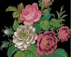 """The original pattern was published in a German magazine """"Der Bazar"""" in 1862. It was intended for stitching with wool in so called """"plush-stitch"""" and cross stitch. Plush-stitch gives an effect of 3D-embroidery. It was usually used for flowers, especially roses. If you don't want to use a plush-stitch, you can easily stitch the whole pattern in simple cross stitch or gobelin. The reconstruction is made for DMC threads. 124 x 133 stitches 19 colours The pattern is in .pdf format and includes…"""
