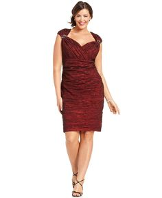 Alex Evenings Plus Size Dress, Cap-Sleeve Beaded Cocktail Dress - Plus Size Dresses - Plus Sizes - Macy's