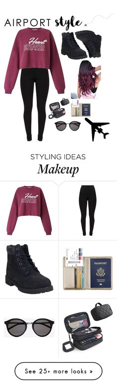"""""""Stay stylish✈️"""" by alyssa055 on Polyvore featuring Miss Selfridge, Timberland, Yves Saint Laurent and airportstyle"""
