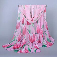 Chic Tulip Pattern Chiffon Scarf For Women #men, #hats, #watches, #belts, #fashion