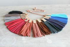 Leather Tassel Lariat Necklace, Fringe Necklace, Rose Gold Necklace, Genuine Suede Leather Tassels by LemkaB on Etsy