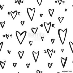 Vektor: Vector seamless pattern with hearts. Ink illustration isolated on white background.