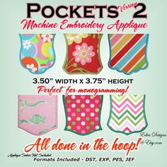 Pockets 2 - Applique Pocket - Machine Embroidery Designs by EdiesDesigns on Etsy https://www.etsy.com/listing/128060286/pockets-2-applique-pocket-machine