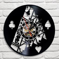 House of Cards Poker VINYL RECORD 3D LASER CUT WALL CLOCK
