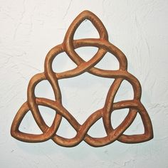 Cloverleaf Triquetra  Wood Carved Celtic Knot- meaning to be living a carefree life of ease, comfort, or prosperity.