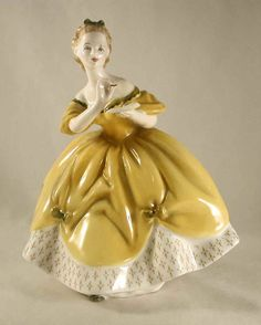 "Vintage Bone China Colorful English Royal Doulton Figurine Woman in Yellow Dress ""The Last Waltz"" H. Porcelain Ceramics, China Porcelain, Porcelain Jewelry, Glazes For Pottery, Pottery Art, The Last Waltz, Royal Doulton, Mellow Yellow, Vintage China"