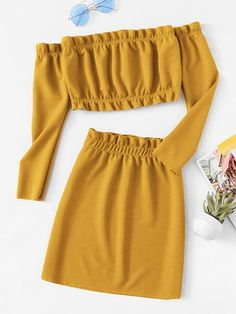 Shop Frill Trim Knit Crop Top With Skirt online. SHEIN offers Frill Trim Knit Crop Top With Skirt & more to fit your fashionable needs. Crop Top Outfits, Cute Casual Outfits, Cute Summer Outfits, Stylish Outfits, Spring Outfits, Teen Fashion Outfits, Girl Outfits, Teenager Outfits, Two Piece Outfit