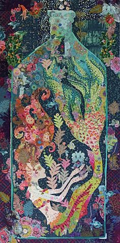 Mermaid In A Bottle Fiberworks Fused Art Quilt Pattern History <b>History.</b> Sirene Mermaid in a Bottle Fiberworks Fused Art Quilt Pattern.</p>History <b>History.</b> Sirene Mermaid in a Bottle Fiberworks Fused Art Quilt Pattern. Mermaid Quilt, Mermaid Art, Mermaid Canvas, Siren Mermaid, Laura Heine, Collage Book, Graphisches Design, Arte Popular, Applique Quilts