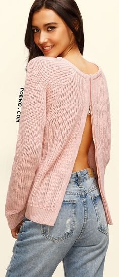 Pink Round Neck Zipper Split Back Long Sleeve Sweater