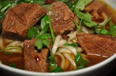 Slice of Rice: Chinese New Year Meal - Red Braised Beef Noodle Soup (Hong Shao Niu Rou Mian) New Year's Food, Love Food, Boiled Dinner, Beef Goulash, Beef Noodle Soup, Red Chili Powder, Braised Beef, Chinese Restaurant, Beef Dishes