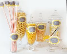 Yellow and Gray Candy Buffet for 75 Guests by SweetLadera@cox.net $275.99 Complete buffet: Includes jars, labels, candy and favor boxes.