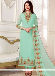 Embroidered Work Blue Faux Georgette Designer Straight Suit