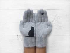 Cat Lover Gift Cat Gloves Winter Gloves Women Gray Wool Gloves Pet Mittens Cat Gifts Holiday Gift For Women Grey Gloves, Wool Gloves, Mitten Gloves, Cat Lover Gifts, Cat Gifts, Cat Lovers, Crazy Cat Lady, Crazy Cats, Game Mode
