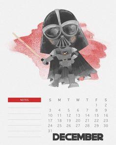 Calendário Star Wars para você imprimir | Nerd Pai