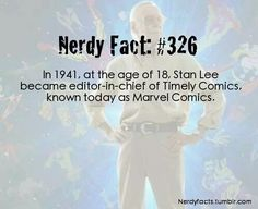 In at the age of Stan Lee became editor-in-chief of Timely Comics. Known today as Marvel Comics Super Hero shirts, Gadgets Marvel Facts, Marvel Dc Comics, Marvel Avengers, Dc Movies, Marvel Movies, Superhero Facts, Stan Lee, Marvel Cinematic Universe, Comic Books
