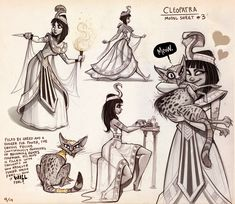 Cleopatra Model Sheet, Drew Hill on ArtStation at https://www.artstation.com/artwork/L2gmR
