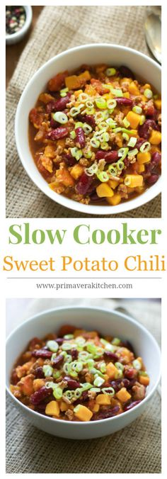 Slow Cooker Sweet Potato Chili - It is made with a mixture of extra-lean ground turkey, sweet potato, tomato sauce & beans. It is a perfect hearty bowl of chili for a cold day! primaverakitchen.com