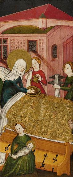 Anonymous German Artist active in Konstanz The Birth of the Virgin ca. 1430 Panel x cm Museo Thyssen-Bornemisza, Madrid Medieval Life, Medieval Art, Medieval Castle, Renaissance, Medieval Bedroom, St Jean Baptiste, Medieval Furniture, Les Religions, Museum
