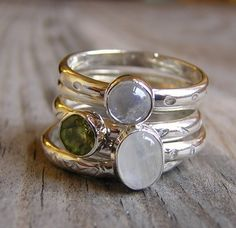 New Moon Peridot and Moonstone Stacking Rings