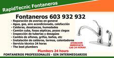 Fontaneros RapidTecnic a su servicio las 24 horas. #Barceloa #Madrid #Valencia #Alicante #Sevilla