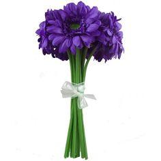 Gerbera Daisy Hand-Tied Wedding Bouquet in Purple | Wedding Flowers ❤ liked on Polyvore