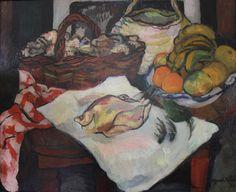 Suzanne VALADON (1865-1938).    NATURE MORTE AU FRUITS ET A LA VOLAILLE  Oil/canvas , 50x61 cm (19.69x24.02 in)