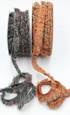 Very Fine Looped Fringe Trim in Pink, Burnt Orange and Fir Green -- Wide Fringe Trim, Natural Linen, Burnt Orange, Dark Red, Dressmaking, Ribbons, Primary Colors, Craft Projects, Crochet Earrings