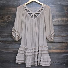 This gauzy and unlined ruffle dress is perfect for those summer nights, those festival concerts, those events waiting for memories to be made. Features 3/4 ruff