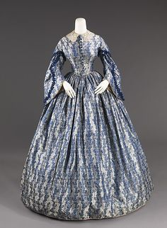 Blue Silk and Cotton Print Wedding Gown, American, 1860.