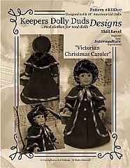 Dress your doll in traditional Christmas fashion! This Victorian Christmas Caroler pattern features a coat with princess seams, optional lining and bell shaped sleeves. It has a graceful lined pelerine that is detachable to cover your doll's shoulders. A wide brimmed bonnet makes the perfect companion for the coat and pelerine.  This pattern is sized to fit the 18″ American Girl Doll or similar body size dolls.  $9.95
