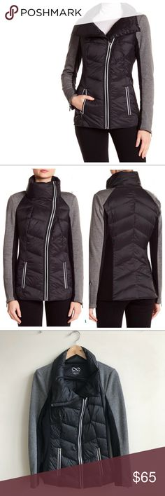 Blanc Noir Packable Down Jacket Mixed media packable down jacket from Blanc Noir. Size Small. This jacket is from my personal closet and has been worn exactly twice. I've been shopping like crazy lately so I'm clearing a few lesser worn things out! Slimming shape and very comfortable. This jacket has an athleisure look so it goes great with your workout gear to and from the gym or yoga. Perfect condition. I'm a 6 and it fits me great. No trades. blanc noir Jackets & Coats Puffers