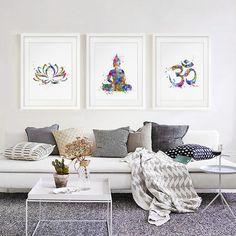 Buddha Wandkunst Lotus Blume Kunstdruck Yoga Aquarell Om Yoga Malerei  Wand Dekor Kunst Papier Wohnkultur