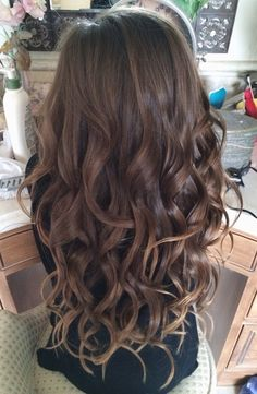 Long curly ombre brown hair