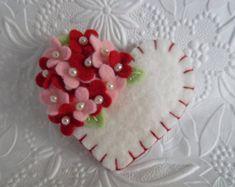 Felt Flower Brooch Mothers Day Heart Beaded Jewelry Felted Pin