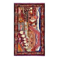 Herat Oriental Semi-antique Afghan Hand-knotted Tribal Balouchi Red/ Blue Wool Rug (2'8 x 4'6)