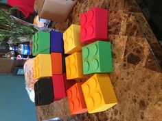 Lego favor boxes. Using silhouette pizza box file, circles and foam dots.