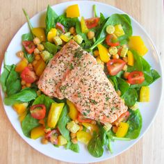 lunch: baked salmon with black pepper and parsley, chickpeas, spinach, cherry tomatoes, yellow pepper, baby corn, and lemon juice drizzled on top - source: http://eat-pure.tumblr.com/post/51638531499/lunch-baked-salmon-with-black-pepper-and-parsley