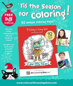 Free Coloring Book for the Holidays from Art Licensing Show Free Adult Coloring, Adult Coloring Book Pages, Christmas Coloring Pages, Printable Coloring Pages, Coloring Pages For Kids, Coloring Books, Zentangle, Holiday Pictures, Holiday Ideas