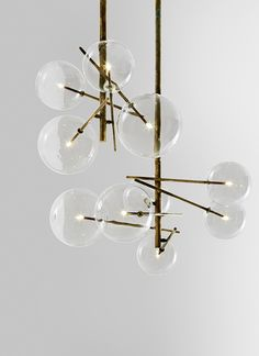 lampy_The 'Bolle' light in copper brass and glass by Gallotti & Radice.