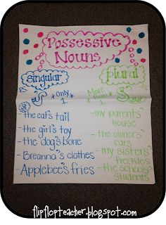 Teaching in Flip Flops: Anchor Charts - possessive nouns