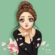 Cute Cartoon Girl, Cute Love Cartoons, Cartoon Art, Lovely Girl Image, Cute Girl Pic, Cute Girls, Girly Drawings, Art Drawings Sketches Simple, Cute Girl Hd Wallpaper