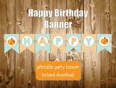 Happy Birthday Pumpkin Banner Printable Polkadots Orange